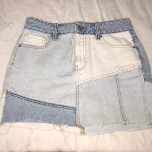 Light denim and white patch jean skirt